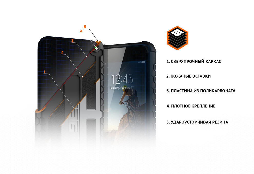Чехол для iPhone 8 UAG Monarch черный